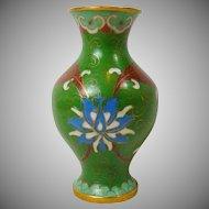 Green Floral Oriental Miniature Cloisonne Brass Enamel Small Vase Urn