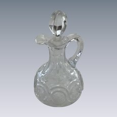 Pressed Glass Vinegar Cruet with Glass Stopper