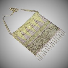 Beaded Soft Green & Lilac Purple Metal Bead Handbag Reticule
