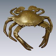 Brass Crab Astrology Cancer Ink Well with Original Porcelain Inset