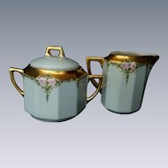 C.  Tielsch Germany Hand Painted Cream Pitcher and Sugar Bowl