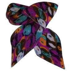 Vintage Neck Ridge Waffle Multi Colored Scarf with Faces