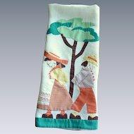 Vintage Boy and Girl Appliquéd Large Hand Towel