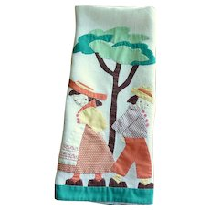 Vintage Boy and Girl Appliquéd Large Hand Towel