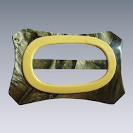 Art Deco Green Marbled Celluloid Large Belt Buckle