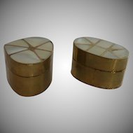 Brass Mother of Pearl Top Trinket Box Boxes