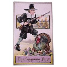 Thanksgiving Pilgrim and Turkey Postcard