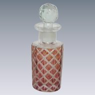 Cranberry Washed Red Bottle with Faceted Stopper