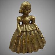 Brass Bell Shaped Southern Belle Girl
