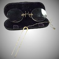 Pince Nez Gold Filled Eye Glasses with Hair Comb Attachment