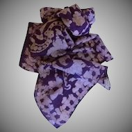 Long Purple & Beige Hand Painted Silk Scarf
