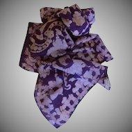 Long Purple & Beige Hand Painted Silk Scarf