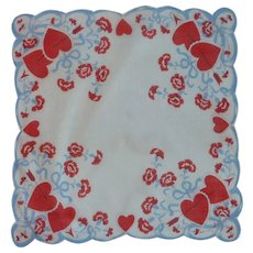 Flowers and Hearts Valentine Handkerchief
