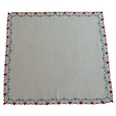 Red Hearts & Blue Flowers Valentine Handkerchief Hankie Hanky