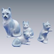 Four Porcelain Miniature Cat & Kittens
