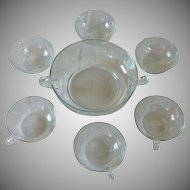 Crystal Glass Etched Berry Fruit Bowl Set