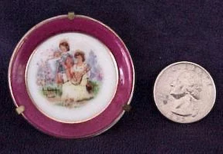 Miniature China Plate with Metal Display Holder  Rare Finds | Ruby Lane & Fascinating China Plate Display Holders Photos - Best Image Engine ...