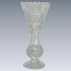 Violetta Etched Crystal Clear Flower Vase