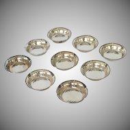 9 Individual Bon-Bon Silver Plate Bowls