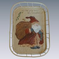 Hand Painted Small Wood Tray Santa Picture