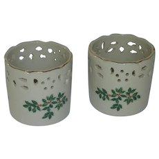 Pair of Christmas Porcelain Tea Light Holders