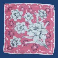 White Daffodils on Hot Pink Handkerchief Hanky