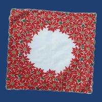 Red Poinsettia Christmas Handkerchief Hanky