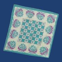 Small White, Aqua and Pink Posey Handkerchief Hankie
