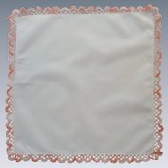 Exquisite  Peach Pink Tatted Edge White Handkerchief Hanky
