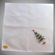 White Christmas Tree Handkerchief Hanky