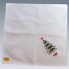 White Christmas Tree Handkerchief Hanky