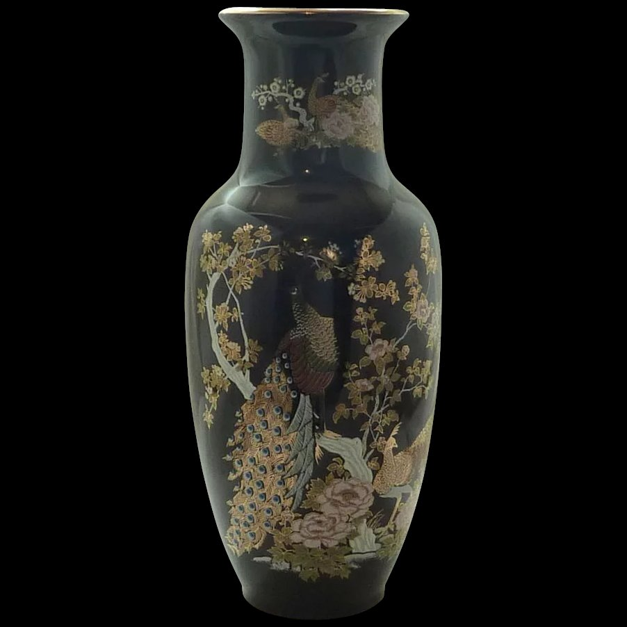 Beautiful peacock black heisei asian vase sold ruby lane beautiful peacock black heisei asian vase click to expand reviewsmspy