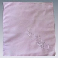 Small Linen Pink/Lilac Handkerchief with White Embroidered Flowers