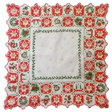 Christmas Red and Green Scalloped Handkerchief