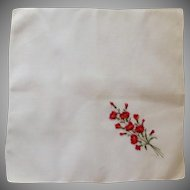 White Linen Handkerchief with Red Flowers