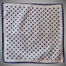 Navy Polka Dots on White Background Handkerchief Hankie
