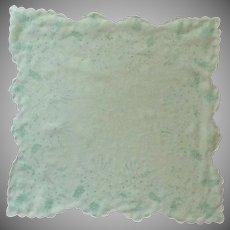 Mint Green Sheer Transparent Flower Bouget Handkerchief Hanky