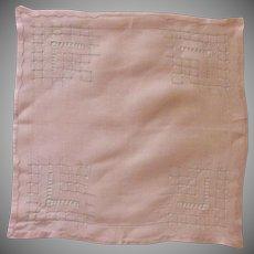 Beautiful Drawn Work Pink Handkerchief Hankie