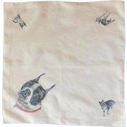 English Bulldog White Cotton Handkerchief Hanky