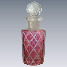 Cranberry Red / Pink  Bottle with Faceted Stopper