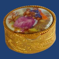 Italian Porcelain Limoges Top Metal Trinket Box
