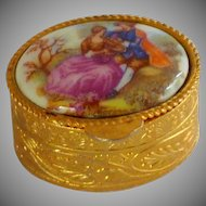 Italian Porcelain Limoges Top Metal Trinket Box