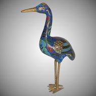 Cloisonné Asian Enameled Bird Stork Crane
