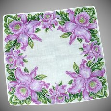 Purple Lilac Orchid Flower on White Handkerchief