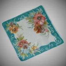 Aqua Border Variety of Colors on Pansy Handkerchief Hankie