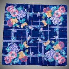 Deep Purple Flowered Handkerchief
