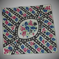 White with Black Borders and Flowers Handkerchief