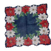 Navy Blue with White and Red Poinsettias Handkerchief