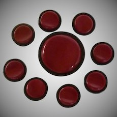 Red / Black Vintage Celluloid Metal Buttons