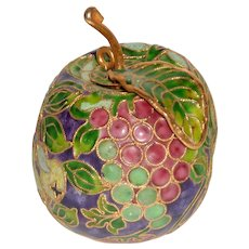 Asian Chinese Cloisonné  Purple and Green Fruit  Apple